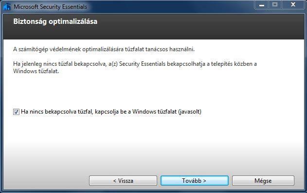 Microsoft Security Essentials tűzfal