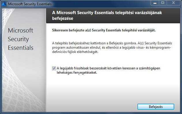 Microsoft Security Essentials frissítés