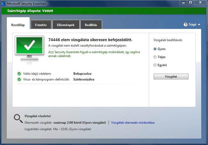 Microsoft Security Essentials nincs veszély