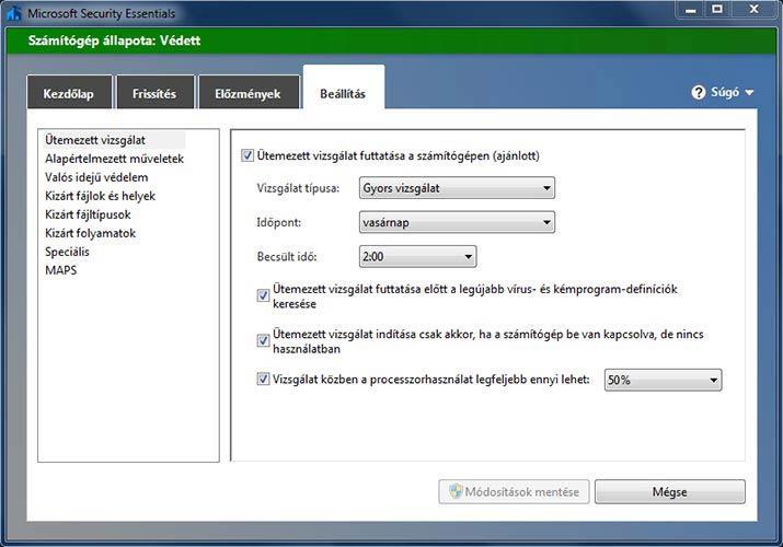 Microsoft Security Essentials ütemezett vizsgálat