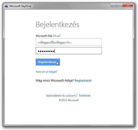 SkyDrive bejelentkezés