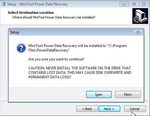 Power Data Recovery figyelmeztetés