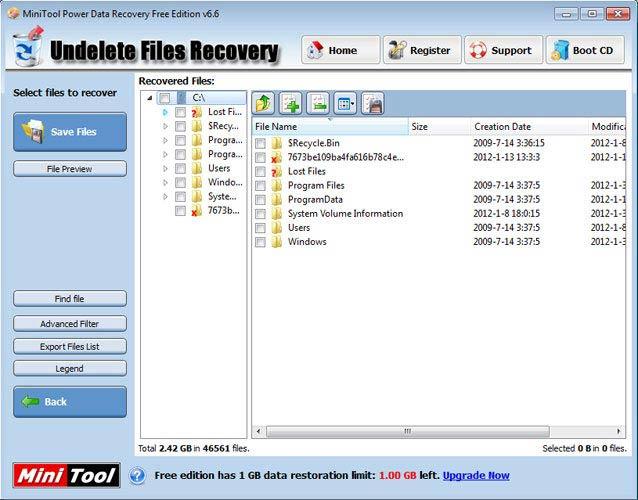 Power Data Recovery szűrés
