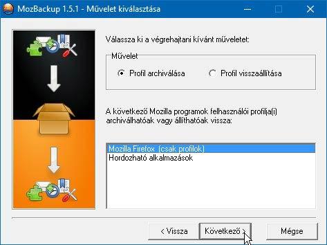 MozBackup profil mentés, visszaállítás