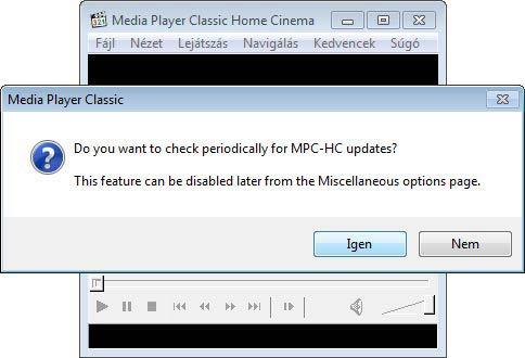 MPC HomeCinema frissítés