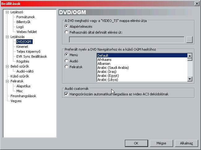 MPC HomeCinema DVD lejátszás