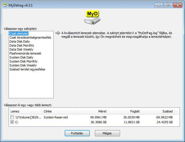 MyDefrag - Csak elemzés