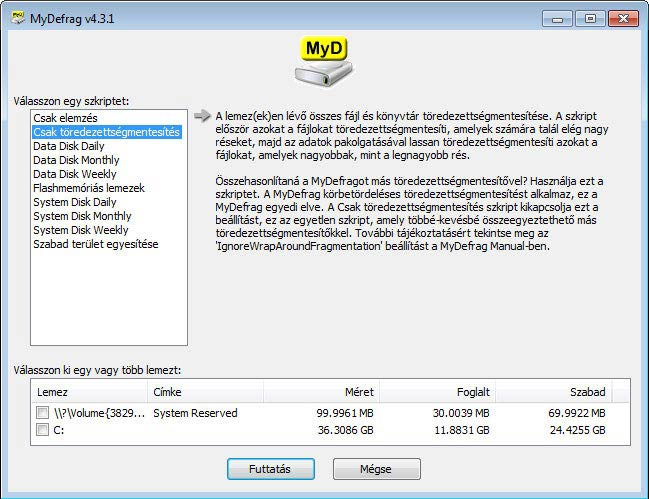 MyDefrag - Csak töredezettségmentesítés