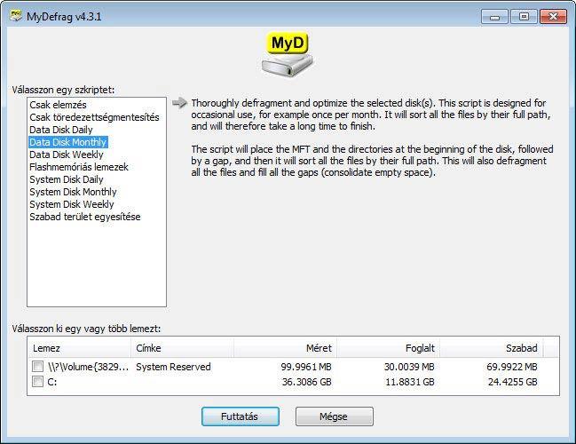 MyDefrag - havi optimalizálás