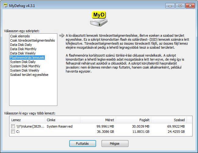 MyDefrag - Flash és szilárdtest lemezek