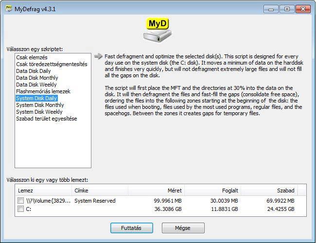 MyDefrag - rendszerlemezek