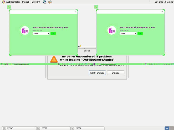 Norton Bootable Recovery Tool hibásan indul