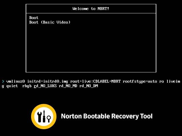 Norton Bootable Recovery boot paraméter változtatás