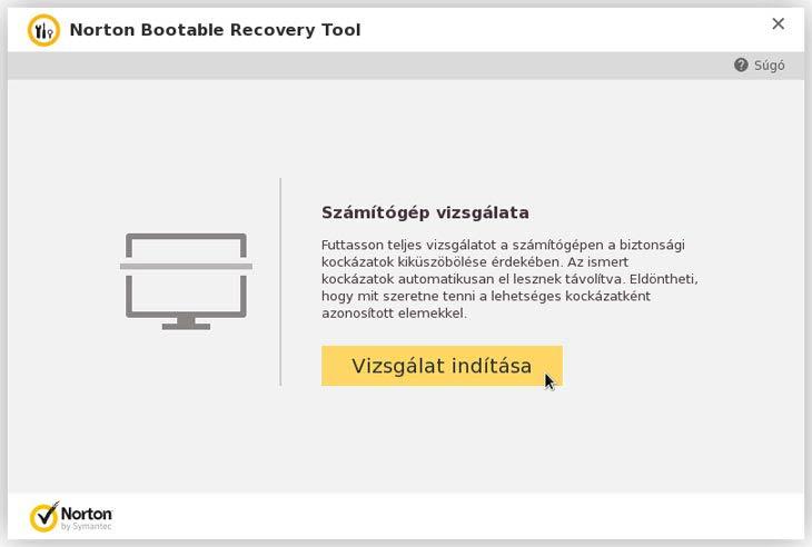 Norton Bootable Recovery boot számítógép vizsgálata