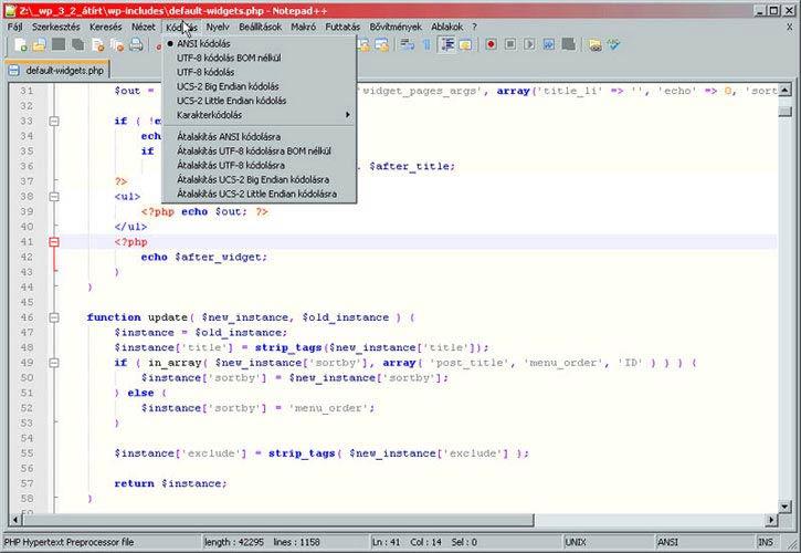 Notepad++ kódolási lehetőségek