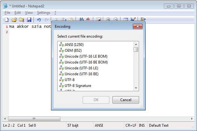 Notepad2 kódolás