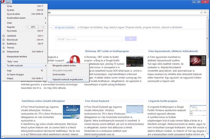 Opera fejlesztői eszközök