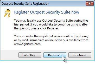 Outpost Security Suite Free regisztrálás
