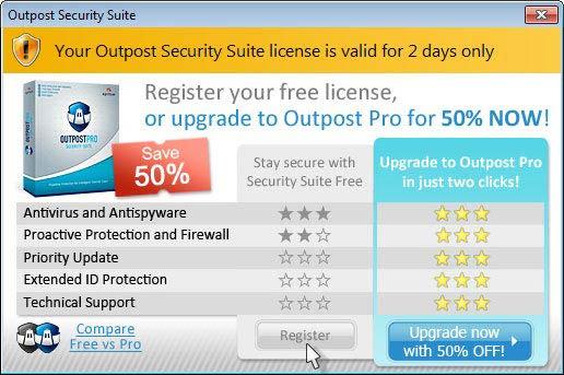 Outpost Security Suite Free ingyenes változat