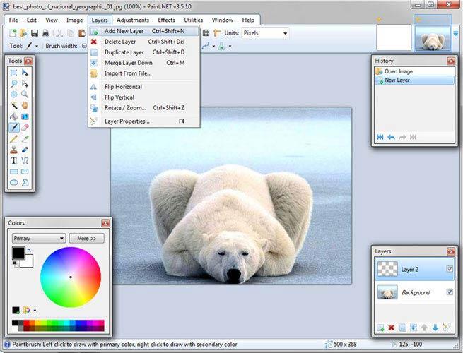 Paint.NET réteg kezelés