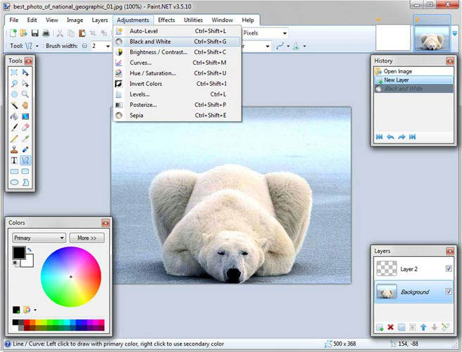 Paint.NET fénykép módosítások