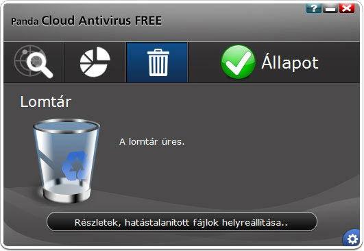 Panda Cloud Antivirus hatástalanított fájlok