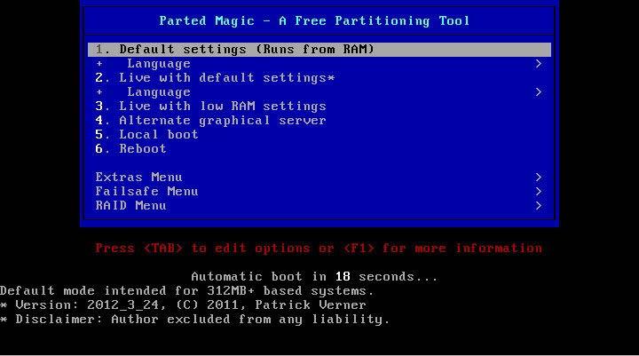 Parted Magic partíció kezelő