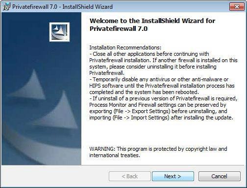 Privatefirewall telepítés