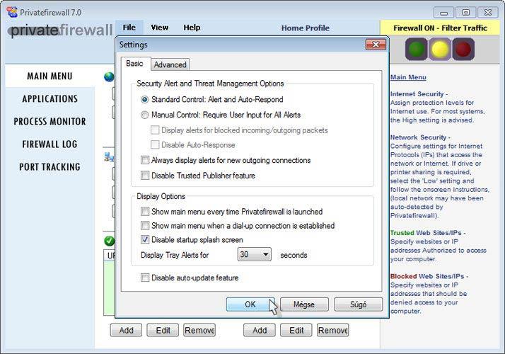 Privatefirewall beállítások