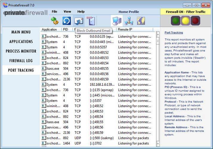 Privatefirewall Port Tracking