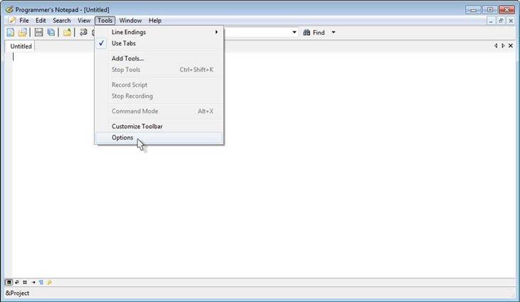 Programmer's Notepad beállítások