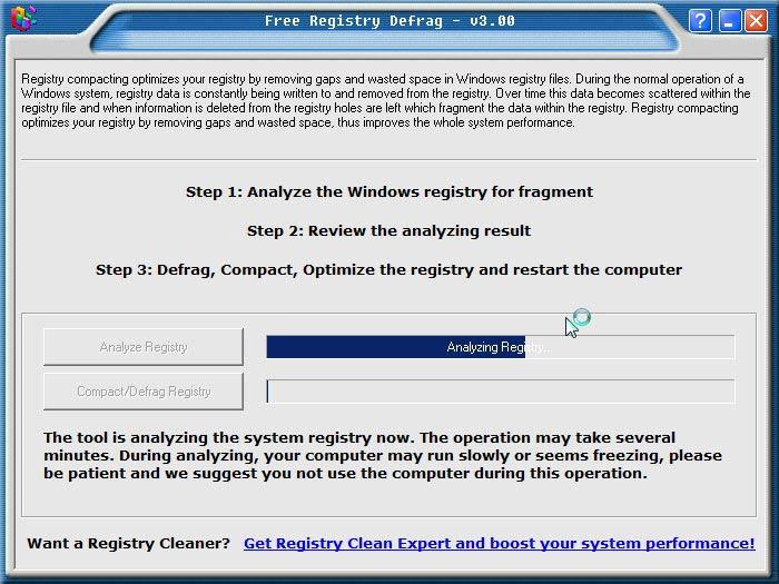 Registry Defrag elemzés