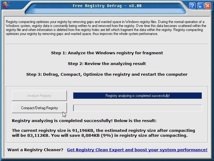 Registry Defrag elemzés kész