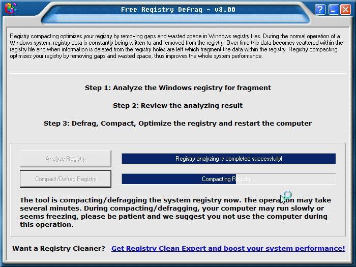 Registry Defrag tömörítés
