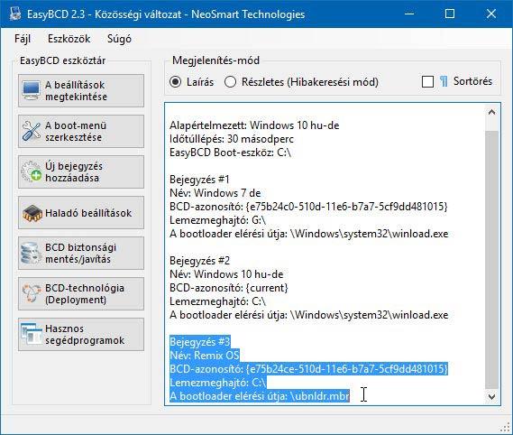 Remix OS 3 EasyBCD menü ellenőrzés