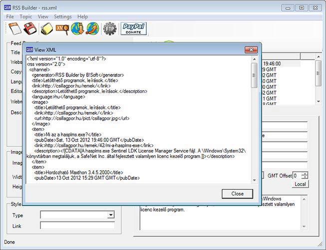 RSS Builder xml