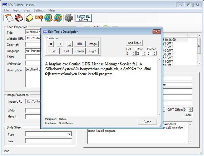 RSS Builder HTML