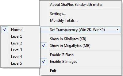 Shaplus Bandwidth Meter menü