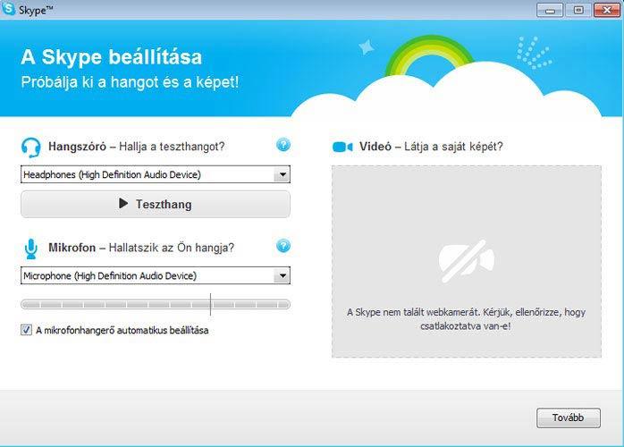 Skype hang és videó