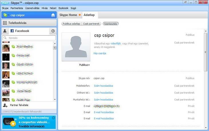 Skype adatlap