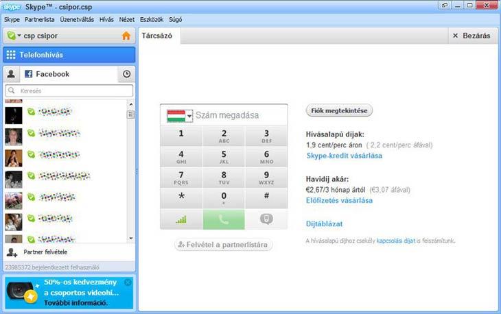 Skype tárcsázó