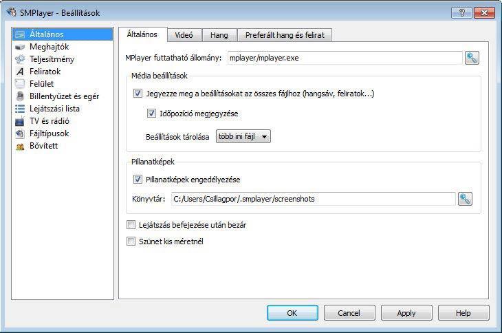 SMPlayer beállítások