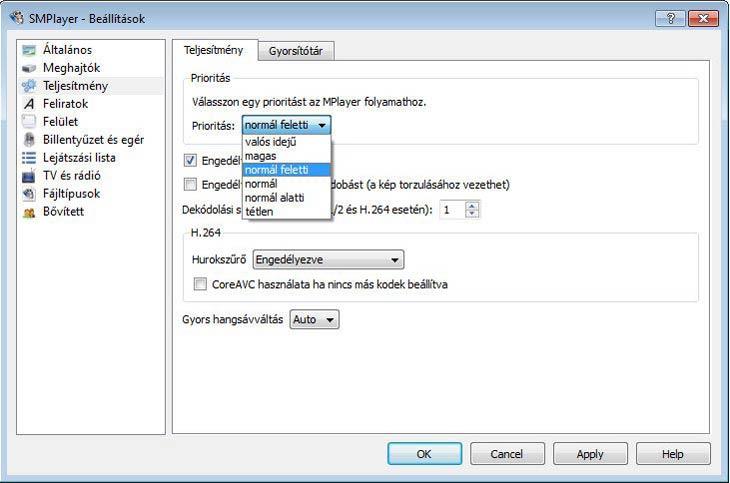 SMPlayer teljesítmény