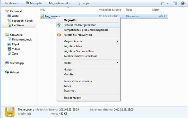 SoftPerfect File Recovery, rendszergazdaként indítsuk