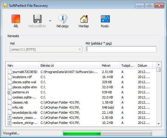 SoftPerfect File Recovery keresés