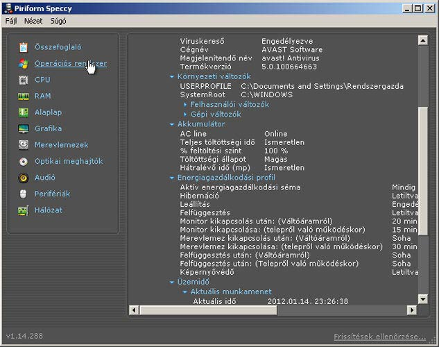 Speccy operációs rendszer
