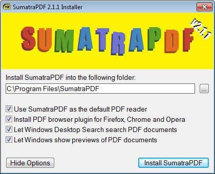 Sumatra PDF alapértelmezett PDF olvasó
