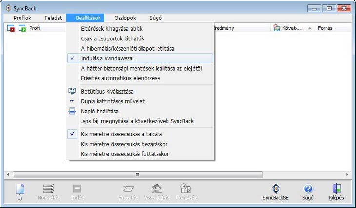 SyncBack beállítások
