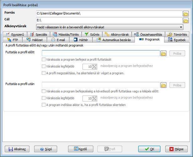 SyncBack indítandó programok