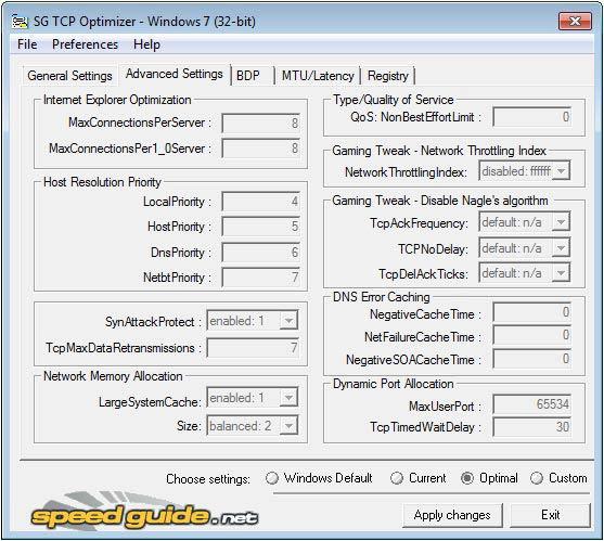 TCP Optimizer beállítások